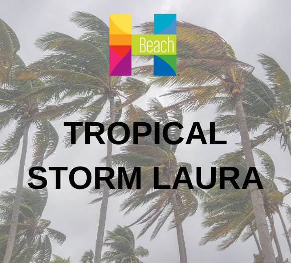 palm trees in high wind, text that says tropical storm laura