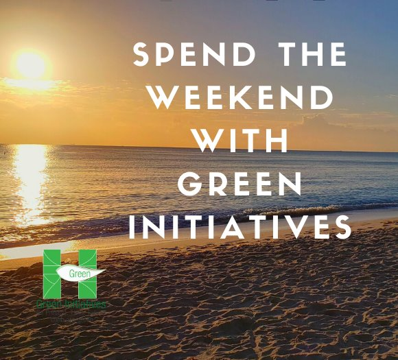 Sunrise at our Beach with text saying Spend the weekend with Green Initiatives