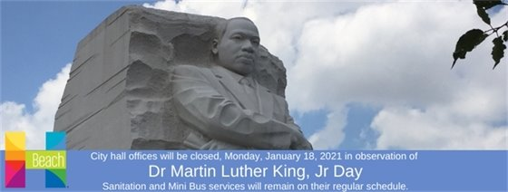 City Hall Closed Dr MLK Jr Day