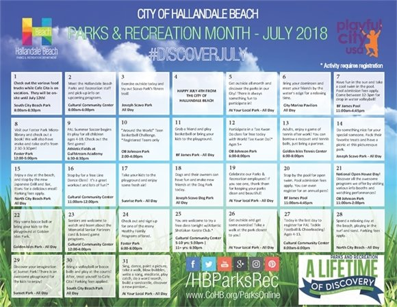 July is Parks & Recreation Month. Check out the calendar with daily activities at various parks. Come take full advantage and #DISCOVERJULY and all that our parks have to offer! #ISIP. For more information visit www.CoHB.org/ParkEvents