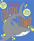 Shark with text 35th International Coastal Cleanup