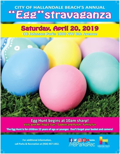 Join us for our annual Easter Egg Hunt for kids 12 years and under at OB Johnson Park, 1000 NW 8th Ave. Don't be late, the hunt starts promptly at 10am!  The event includes visits with Mr. Flop E Ears, Cookies and Punch, and lots of Family Fun!  Don't forget your basket and camera!