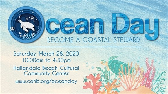 Ocean Day logo become a coastal steward. march 28 from 10 am until 4:40 pm at the cultural center