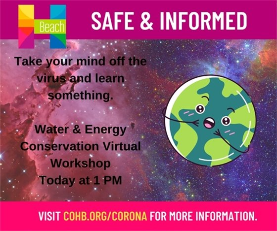 Water & Energy conservation virtual workshop today at 1pm