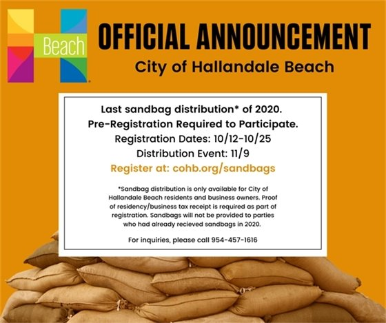 Last sandbag distribution, pre-registration required. Register between 10/12 and 10/25 and the event to pick up sandbags will be 11/19