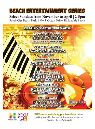 We will be featuring a new band the 4th Sunday of every month from January to April at South City Beach Park, 1870 S. Ocean Drive, Hallandale Beach! This month it will be on January 27th, from 2-5pm with the Driving Force band performing R&B/Funk music! Don't forget to bring your lawn chairs!