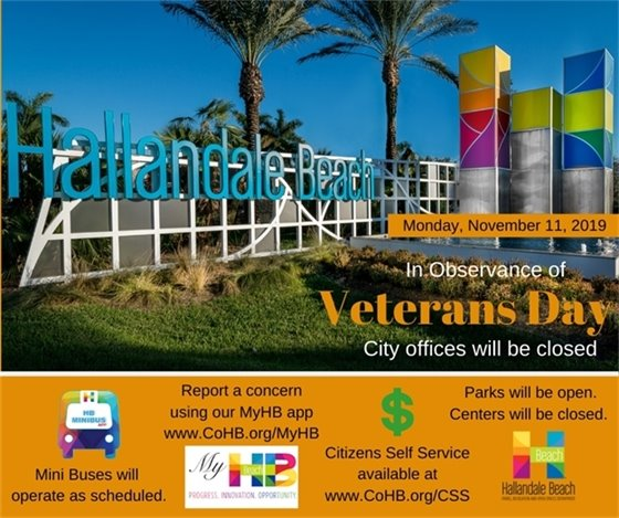 In observance of Veterans Day City Offices will be closed.