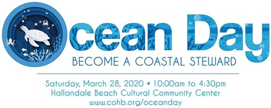 ocean day become a coastal steward. The o for Ocean has a sea turtle and octopus in the logo design.