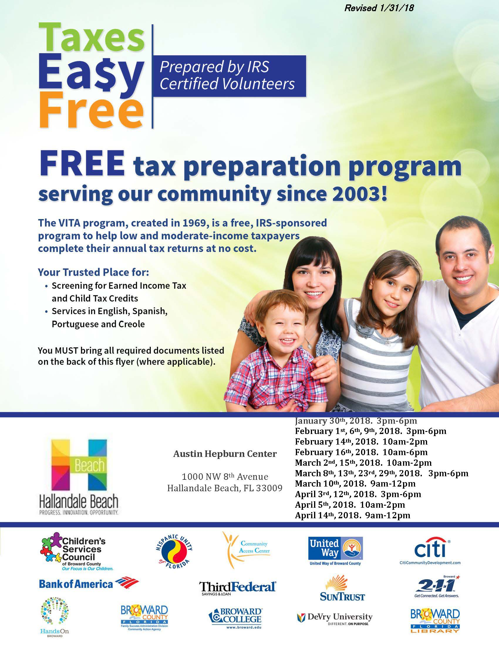 Revised - VITA Free Income Preparation - Hallandale English Flyer - 2018_Page_1