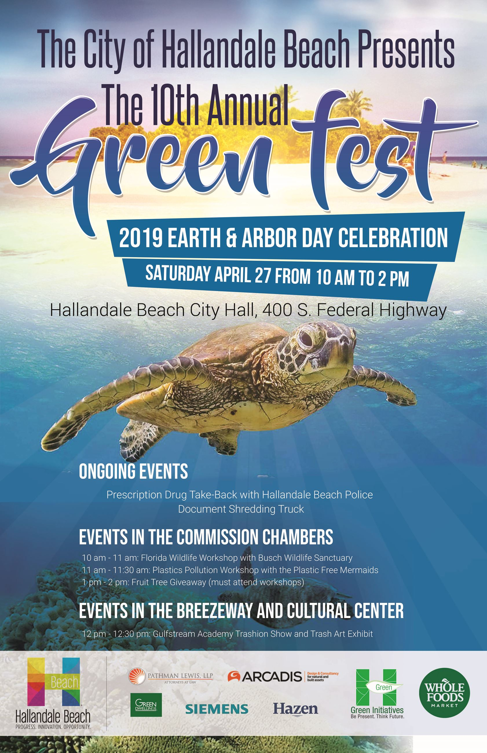 Green Fest poster which states the location at 400 S Federal Highway in Hallandale Beach. The event