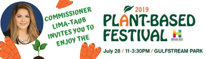 carrots and commissioner lima-taubs face on white background. text that says plant based festival