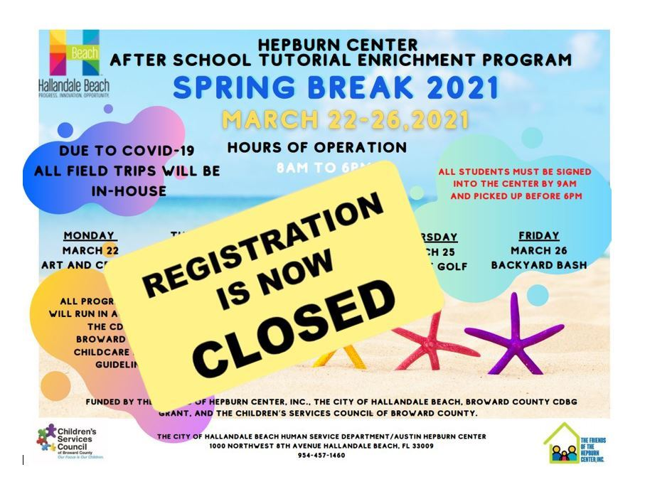 Spring Break Registration Closed 2