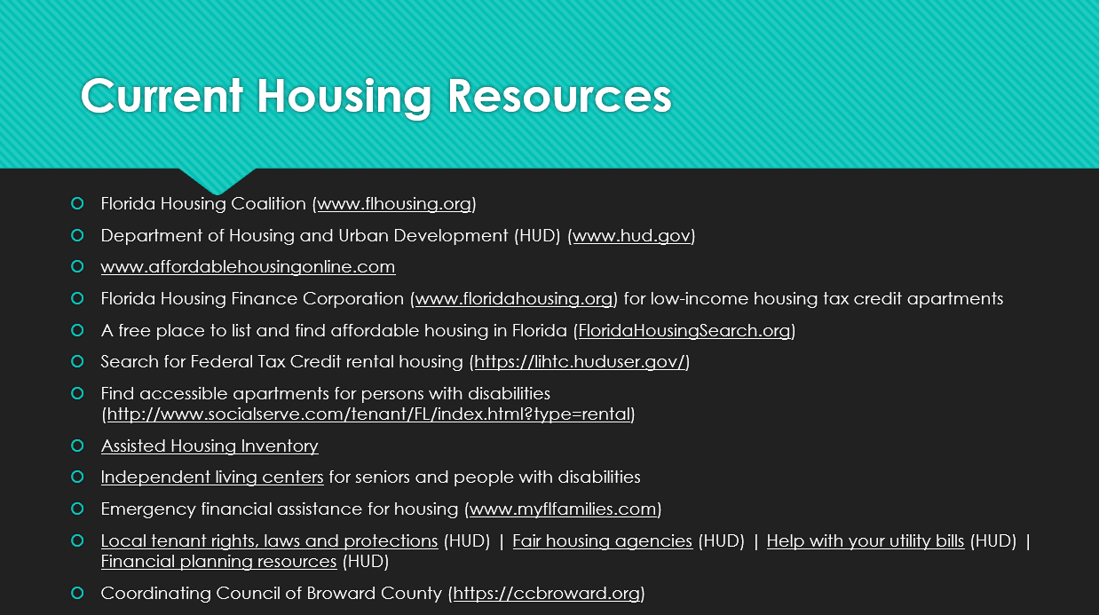 Current Housing Resources Information
