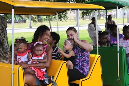 Riding a train at the Foster Park Egg Hunt